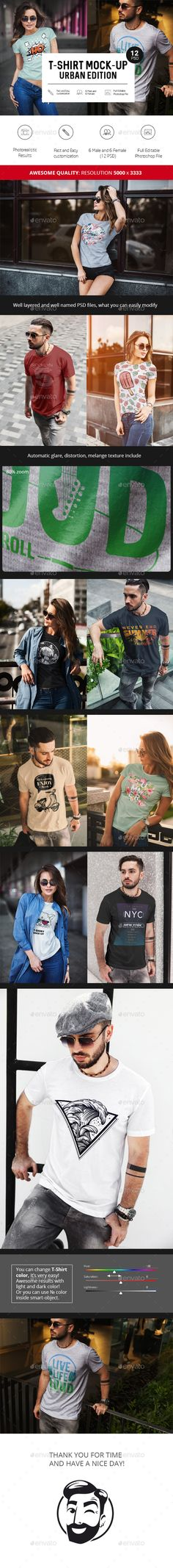 T-Shirt Mock-Up Urban Edition - Realistic look and guarantees the a good look for bright and dark designs and perfect fit to the shape of the t-shirt