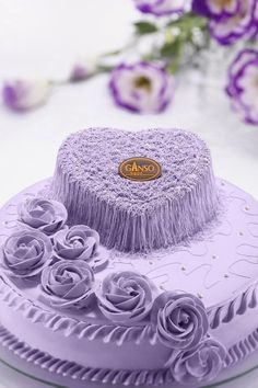 Lilac Hearts & Flowers Cake