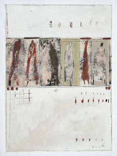 """Line Up 2""  www.scottbergey.com,  12 x 9 , mixed media painting on paper. March 2014"