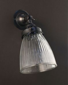 Glass Lamp Shades For Wall Lights: This lovely little spotlight has a neat ribbed glass shade, prismatic.,Lighting