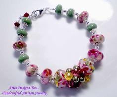 Rose, Red, Yellow & Olive Abstract.Lampwork Bracelet , Summer Melons Lampwork Bracelet