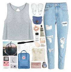 """""""☾ you're playing ring around my head"""" by thundxrstorms ❤ liked on Polyvore featuring H&M, JuJu, Topshop, Aesop, Fjällräven, Bobbi Brown Cosmetics, Henri Bendel, Miss Selfridge, Christian Dior and GHD"""