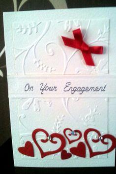 Engagement card quickutz hearts handmade card