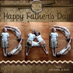 What a fun, fun idea.FATHERS DAY PHOTO GIFT IDEA~ Arrange your children in ways to spell the word DAD. Take a photo and then frame it for his desk at the office or home! Or make a card for Grandpa! You could also do this for Grandma on Mothers Day. Fathers Day Photo, Fathers Day Crafts, Happy Fathers Day Pictures, Papa Tag, Kind Photo, Cadeau Parents, Daddy Day, Mother And Father, Mothers