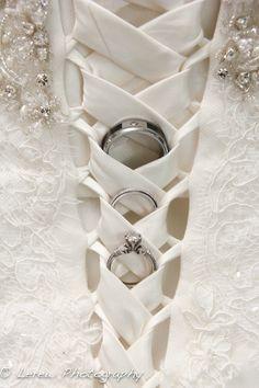 wedding rings in dress