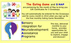 Sign up for a free subscription to The Eating Game Advocate, a monthly newsletter of great ideas and info. https://www.facebook.com/TheEatingGame/app_100265896690345  Learn more about SiNAP at www.sinapbox.com