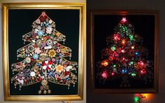 My grandma made this lighted costume jewelry Christmas tree about 25 years ago.  Fun way to use old jewelry!