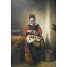 "Buyenlarge 'Young Girl Peeling Apples' by Nicolaes Maes Painting Print Size: 42"" H x 28"" W x 1.5"" D"