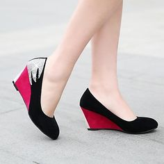 Women's Shoes Round Toe Wedge Heel Pumps More Colors available