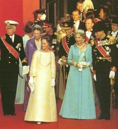 Queen Ingrid wore this tiara for the wedding of Crown Prince Harald of Norway and Sonja Haraldsen on August 29, 1968.