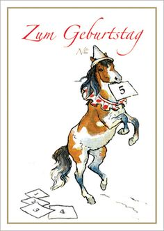 Pferde Grußkarte: Geburtstagskarte, Glückwunsch Klappkarte mit Pony / Zirkus Pferd zum 5. Kindergeburtstag