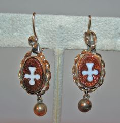 Victorian Ear Bobs Earrings c1885, Goldstone, Hardstone, Gold Filled