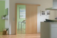The Benefit Of Interior Sliding Doors : Timber Sliding Door With A Top And Left Side Rail In Beech