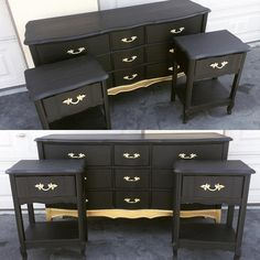 Black and Gold French Provincial Bedroom Set, Dresser and two Side Tables, Gold Dipped Bedroom Set