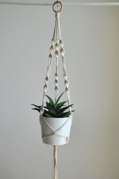 Decorative Macrame Plant Hanger With Golden Drops At The End Perfect Addition