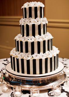 Stylish Black & White Stripe Wedding Details