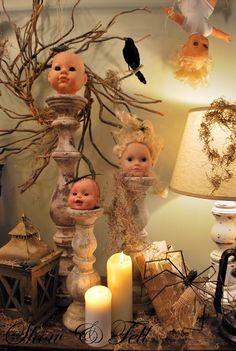 doll head mantel