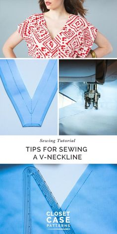 Sewing Techniques Couture A sewing tutorial with tips for sewing a v-neckline // Charlie Caftan (click through for tutorial) - How to sew a perfect V neckline on a woven garment! Lots of tips and tricks to avoid gaping and rippling. Sewing Hacks, Sewing Tutorials, Sewing Tips, Sewing Ideas, Sewing Crafts, Sewing Lessons, Sewing Basics, Quilting Tutorials, Techniques Couture