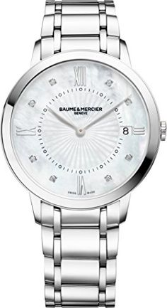 Baume & Mercier Classima Mother-of-Pearl Face Diamond 36MM Date Stainless Steel Womens Swiss Watch 10225