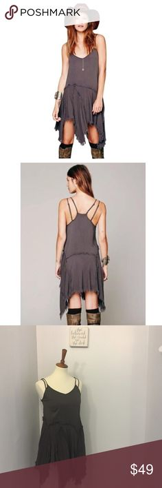FREE PEOPLE asymmetrical grey tattered maxi dress Size XS. Length at longest point is 39 inches, but length is adjustable because the straps are adjustable. 14 inch bust Free People Dresses Asymmetrical