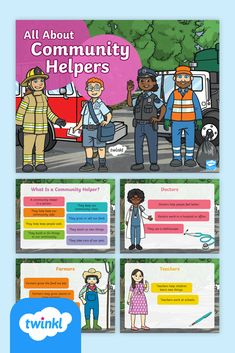 Introduce students to the jobs and duties of community helpers and test their knowledge with this All About Community Helpers PowerPoint and Quiz. Use this informative PowerPoint with pre-kindergarten, kindergarten, and first-grade students to introduce and discuss the jobs of helpers in the community. The PowerPoint also includes an interactive quiz to check students' comprehension and further discussion on the topic. Fun Learning, Learning Activities, Teaching Resources, Doctor Help, Pre Kindergarten, Interactive Activities, Community Helpers, Printable Worksheets, Elementary Education