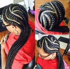thick cornrows easy to do cornrow braided hairstyle to try out Ghana Braids Hairstyles, African Hairstyles, Black Women Hairstyles, Girl Hairstyles, Braided Hairstyles, Big Braids, Cool Braids, Girls Braids, Black Girl Braids