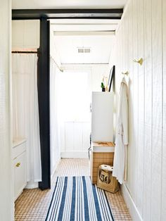Contemporary Bathroom By Cynthia Lynn Photography; Painted Wood Paneled  Walls With Black Beam