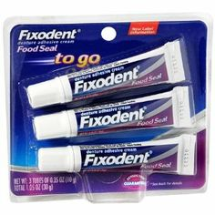 Fixodent Food Seal To Go Denture Adhesive Cream 3-0.35 Oz Tubes (Pack of 4) Total of 12 Tubes by Fixodent. $24.45. A better seal against tough food particles. 12 Tubes of 0.35 oz ach (4.2 oz total). Less ooze. Great fit & strong, long hold. Features a precision tip nozzle. Features a precision tip nozzle, for a thin, continuous line of adhesive around the perimeter of your denture that applies the amount you want where you want it, for: A better seal against tough ...