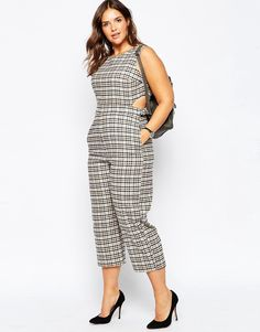 ASOS CURVE Check Jumpsuit With Open Back Detail