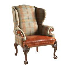 Maitland Smith Relaxed Hunt Club Finished Wing Back Chair, Wool Plaid and Cognac Leather Upholstery Browns CHAIR SEATING. Relaxed Hunt Club Finished Wing Back Chair, Wool Plaid and Cognac Leather Upholstery Chair Upholstery, Wingback Chair, English Decor, Take A Seat, Living Room Furniture, Home Furnishings, Furniture Design, Interior Design, Decoration
