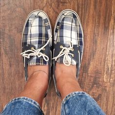 Sperry Top-Sider Navy Blue & Gold Plaid (Size 11) Used but still in great condition! Size 11. Sperry Top-Sider Shoes Sneakers