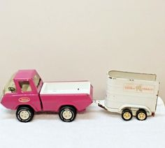 Tonka Pink Pickup Truck & Horse Trailer Stables VTG 1970 Restore or Parts #Tonka #unknown