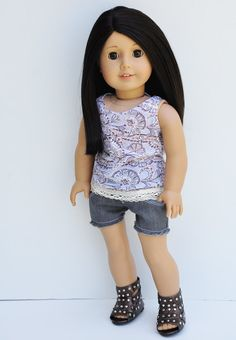 American Girl Doll Clothes - Abstract Print Grey and Tan Crochet Lace Tank, Top