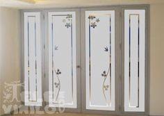 Ventanitas Frosted Glass Design, Frosted Glass Window, Etched Glass Door, Glass Pantry Door, Glass Barn Doors, Glass Front Door, Glass Block Crafts, Front Doors With Windows, Vinyl Doors