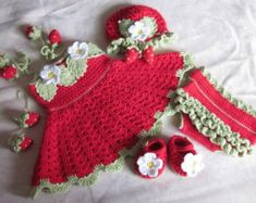 Handmade Baby Girl Crochet Dress and Hat Set With strawberry decoration (3- 12 month) 3e7775ef868