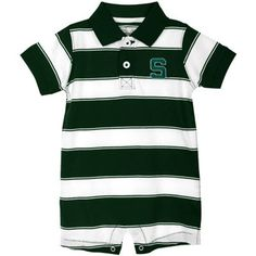 Michigan State Spartans Infant Tyler Collared Creeper - Green/White