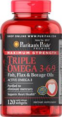Buy Triple Omega Fish, Flax & Borage Oils 240 Softgels & other Fish Oils Supplements. Maximum Strength Triple Omega is reinforced with 3 different types of omega fatty acids along with Flaxseed & Primrose Oil and is a good source of Vitamin E. Best Omega 3 Supplements, Heart Health Supplements, Omega 3 6 9, Chia Oil, Borage Oil, Weight Loss Herbs, Krill Oil, Omega 3 Fish Oil, Good Fats