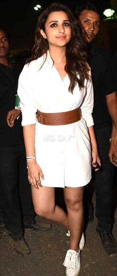 Parineeti Chopra in a short classy white dress at Coldplay concert in Mumbai. #Bollywood #Fashion #Style #Beauty #Hot #Sexy