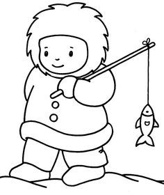 Eskimo Winter Sketch Coloring Page Winter Crafts For Kids, Winter Kids, Winter Art, Coloring For Kids, Coloring Books, Coloring Pages, Winter Thema, Artic Animals, Polo Norte