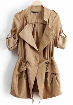 ++ Khaki Drawstring Epaulet Notch Lapel Dacron Trench Coat