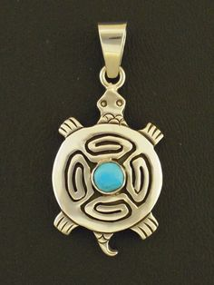 Turquoise Turtle Pendant by Sam Gray Native American Handmade Sterling Silver #NativeAmericanHandmade