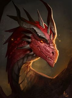 Personal artwork, wanted to try some brushes and more rough painting style. and simply have fun with generic red dragon again Dragon Eye, Fire Dragon, Mythical Creatures Art, Mythological Creatures, Dragon Rouge, Legendary Dragons, Dragon Artwork, Dragon Drawings, Beautiful Dragon