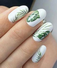 26 Cute Tropical Nails Art Ideas For This Summer - Styles Art - - 26 Cute Tropical Nails Art Ideas For This Summer – Styles Art Nails 26 niedliche tropische Nägel-Kunst-Ideen für diesen Sommer – Styles Art Tropical Nail Designs, Tropical Nail Art, Green Nail Designs, Simple Nail Designs, Green Nail Art, White Nail Art, Green Nails, White Nails, White Summer Nails