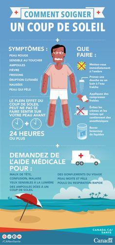 Renseignez-vous à propos des symptômes et des conseils de premiers soins pour les coups de soleil et les maladies liées à la chaleur : http://canadiensensante.gc.ca/healthy-living-vie-saine/environment-environnement/sun-soleil/burn-coup-fra.php?utm_source=pinterest_hcdns&utm_medium=social_fr&utm_content=aug1_sunburn9&utm_campaign=social_media_15