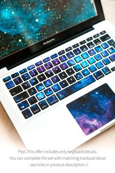 Keyboard decal with sleepy galaxy. Fit every MacBook on Earth. Weatherproof surface and amazing durability! Macbook Desktop, Macbook Keyboard Stickers, Laptop Keyboard Covers, Macbook Laptop, Macbook Decal, Computer Keyboard, Macbook Wallpaper, Mac Book, Cheap Apple Products