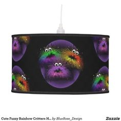 Cute Fuzzy Rainbow Critters Hanging Lamp | Table lamps & shades also available.