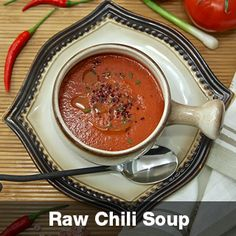 """Raw Chili Soup Singing Hot! Hot! Hot! The taste buds can be hopping to the flavors of this rawsome vegan, dairy free soup after a few minutes of preparation! Great for short notice meals. Stimulates digestion, releases endorphins (makes you feel relaxed) and delivers maximum taste! Bon Appetit. More info at vegetarianrecipes.hotforyoga.tv and downLoad the free recipes by """"Hot In The Kitchen""""  at the Apple App Store. Available Nov 1 2014 Free Recipes, Vegan Recipes, Dairy Free Soup, Chili Soup, Taste Buds, App Store, Bon Appetit, Free Food, Singing"""