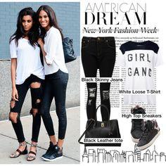 Street Style at NYFW/B&W by helenevlacho on Polyvore featuring Zoe Karssen, Boohoo, adidas and London Fog