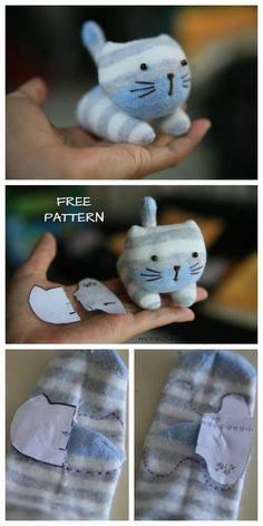 DIY Sock Kitten Free Sewing Pattern + Video Tutorial Hold the looped spit in your Animal Sewing Patterns, Sewing Patterns Free, Free Sewing, Doll Patterns, Pattern Sewing, Tutorial Sewing, Bear Patterns, Diy Sock Toys, Sock Crafts