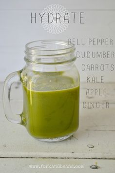 Hydrate Juice Recipe  Makes 16 oz with the Omega masticating juicer  INGREDIENTS:  2 c. kale 1 green apple 3 carrots 1/2 cucumber 1/2 green bell pepper 1-2″ knob of ginger